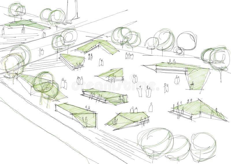 Эскиз общественного парка архитектурноакустический иллюстрация вектора