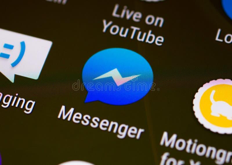 Эскиз/логотип применения посыльного Facebook на smartphone андроида стоковые фотографии rf