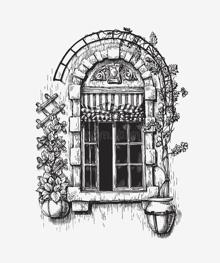 Эскиз открытого окна Винтажная иллюстрация вектора иллюстрация штока