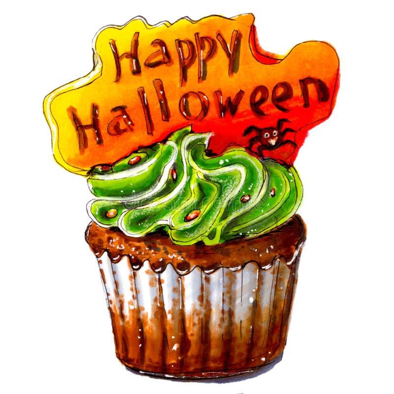 Эскиз отметки счастливого пирожного хеллоуина изолировано бесплатная иллюстрация
