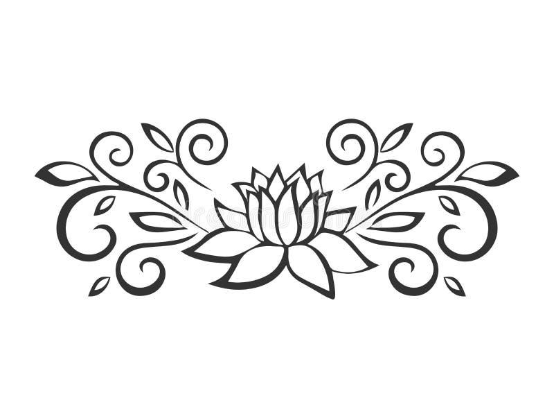 Эскиз лотоса Мотив завода Элементы дизайна цветка также вектор иллюстрации притяжки corel иллюстрация вектора
