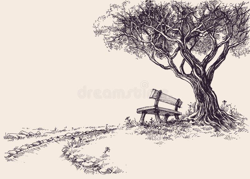 Эскиз парка художнический бесплатная иллюстрация