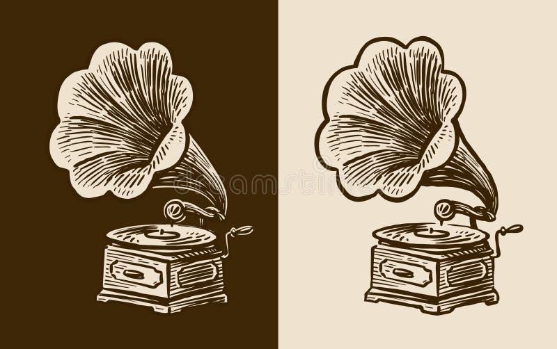 Эскиз патефона Ретро музыка, ностальгия Винтажная иллюстрация вектора бесплатная иллюстрация