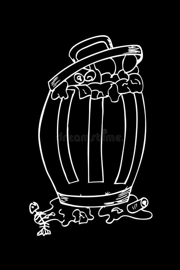 Эскиз, погань и мусорное ведро притяжки руки иллюстрация вектора