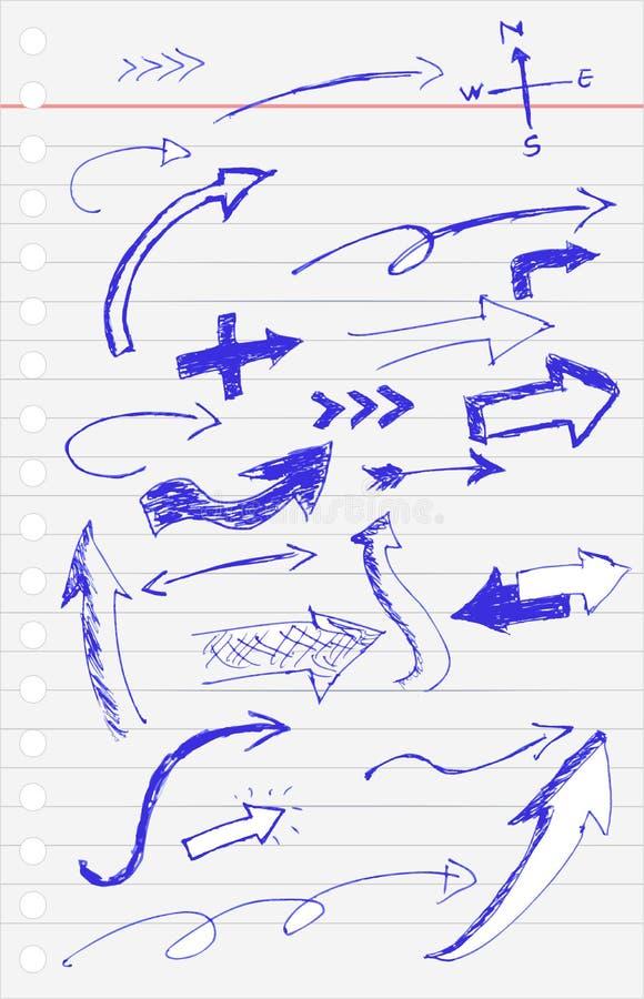 Эскиз притяжки руки, голубая стрелка ручки иллюстрация штока