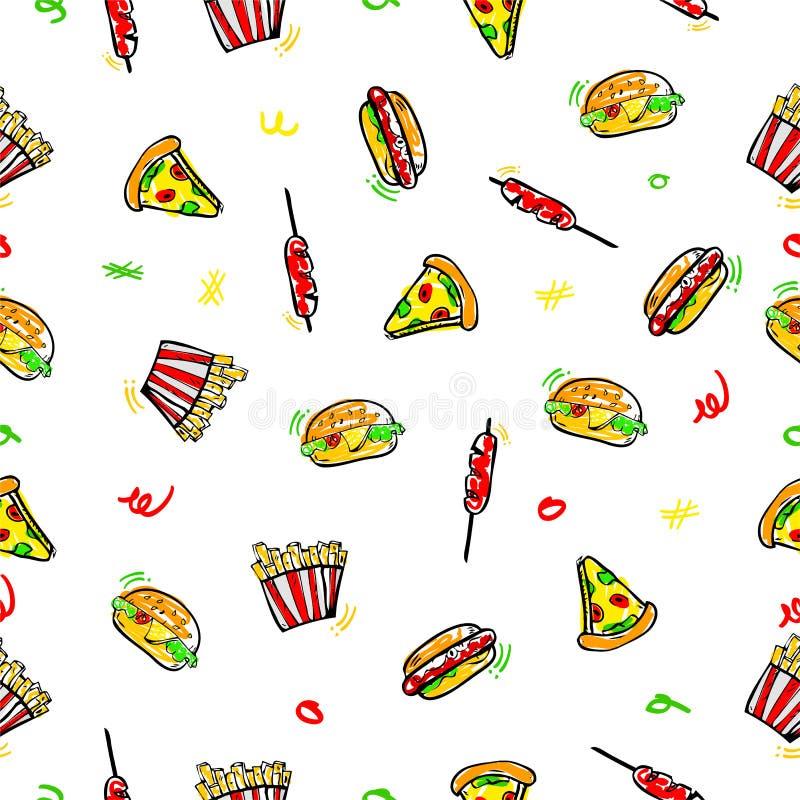 Эскиз притяжки руки картины простого вектора безшовный, бургер, горячая сосиска, сосиска, французский картофель фри и пицца для у иллюстрация вектора