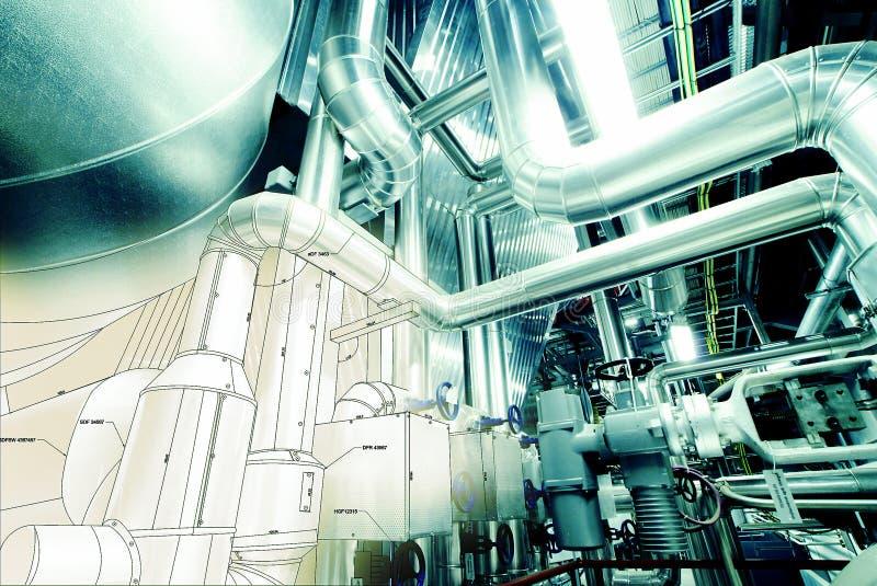 Эскиз промышленного оборудования дизайна тубопровода стоковая фотография