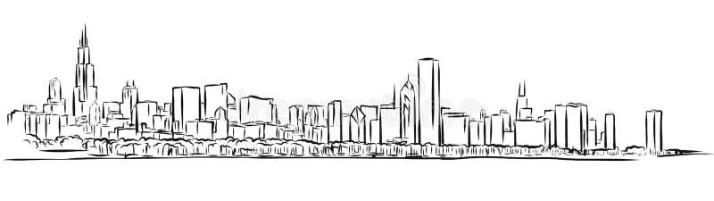 Эскиз плана горизонта Чикаго иллюстрация вектора