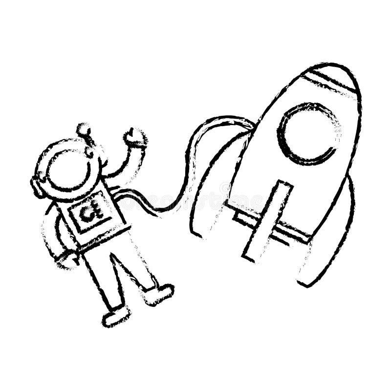 эскиз ракеты астронавта плавая бесплатная иллюстрация