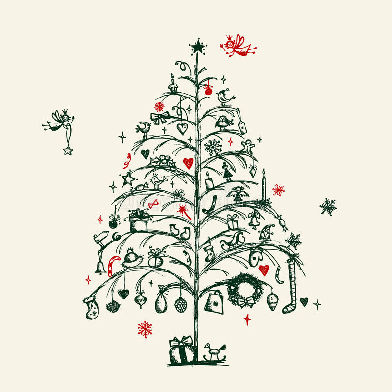 Эскиз рождественской елки иллюстрация вектора