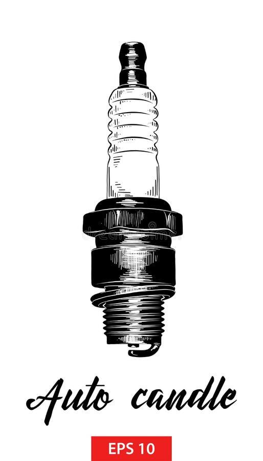Эскиз руки вычерченный автоматической свечи в черноте изолированной на белой предпосылке Детальный винтажный чертеж стиля вытравл бесплатная иллюстрация