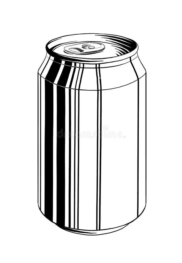 Эскиз руки вычерченный алюминиевой консервной банки в черноте изолированной на белой предпосылке Детальный винтажный чертеж стиля иллюстрация штока