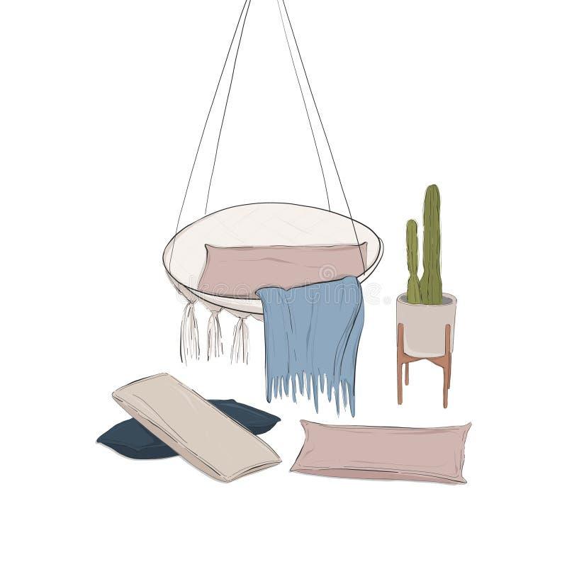 Эскиз руки вычерченный внутренний рекламируя Уютный дизайн квартиры с креслом, подушками, крышкой, заводом Дом ослабляет сверстни иллюстрация вектора