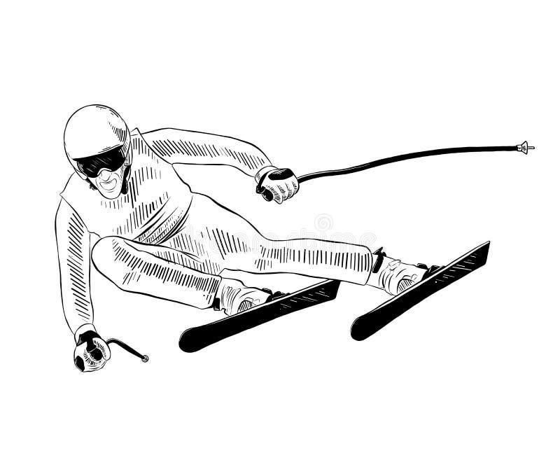 Эскиз руки вычерченный лыжника в черноте изолированного на белой предпосылке Детальный винтажный чертеж стиля вытравливания бесплатная иллюстрация