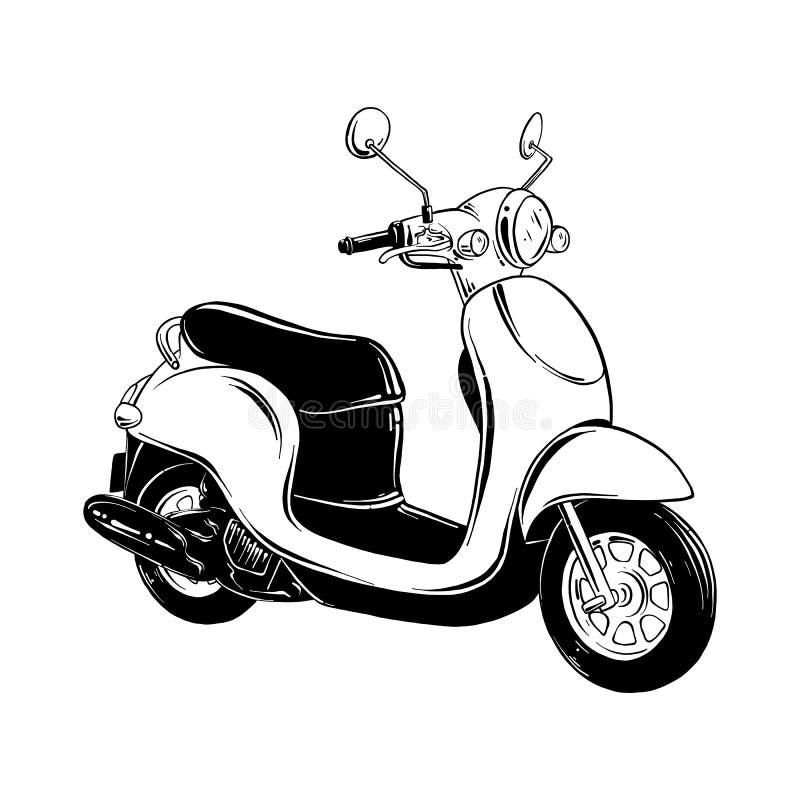 Эскиз руки вычерченный скутера в черноте изолированного на белой предпосылке Детальный винтажный чертеж стиля вытравливания иллюстрация вектора