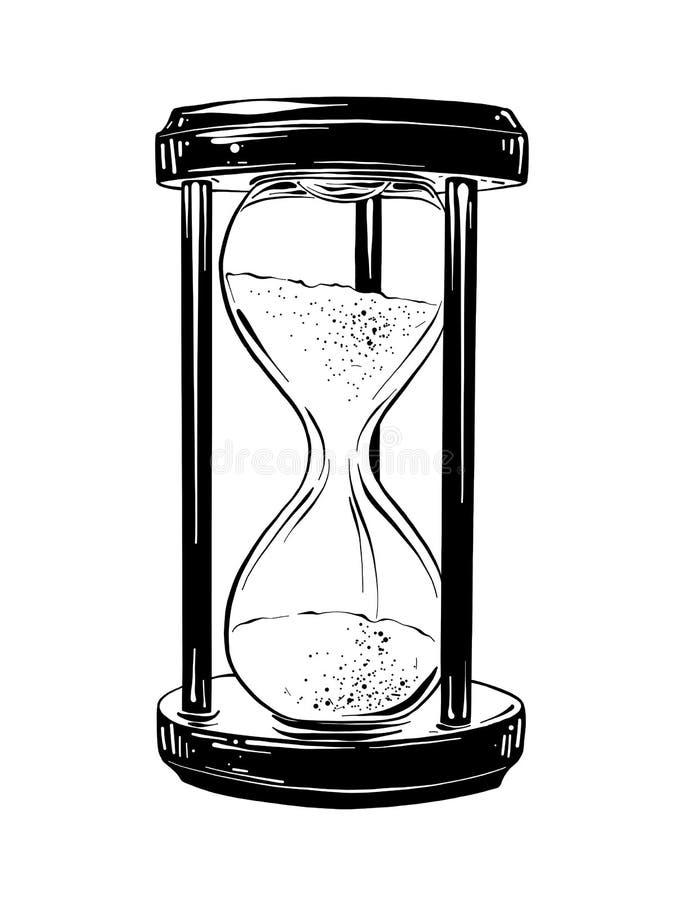 Эскиз руки вычерченный часов в черноте бесплатная иллюстрация
