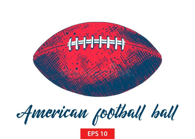 Эскиз руки вычерченный шарика американского футбола в черном изолированного на белой предпосылке Детальный винтажный чертеж стиля иллюстрация штока