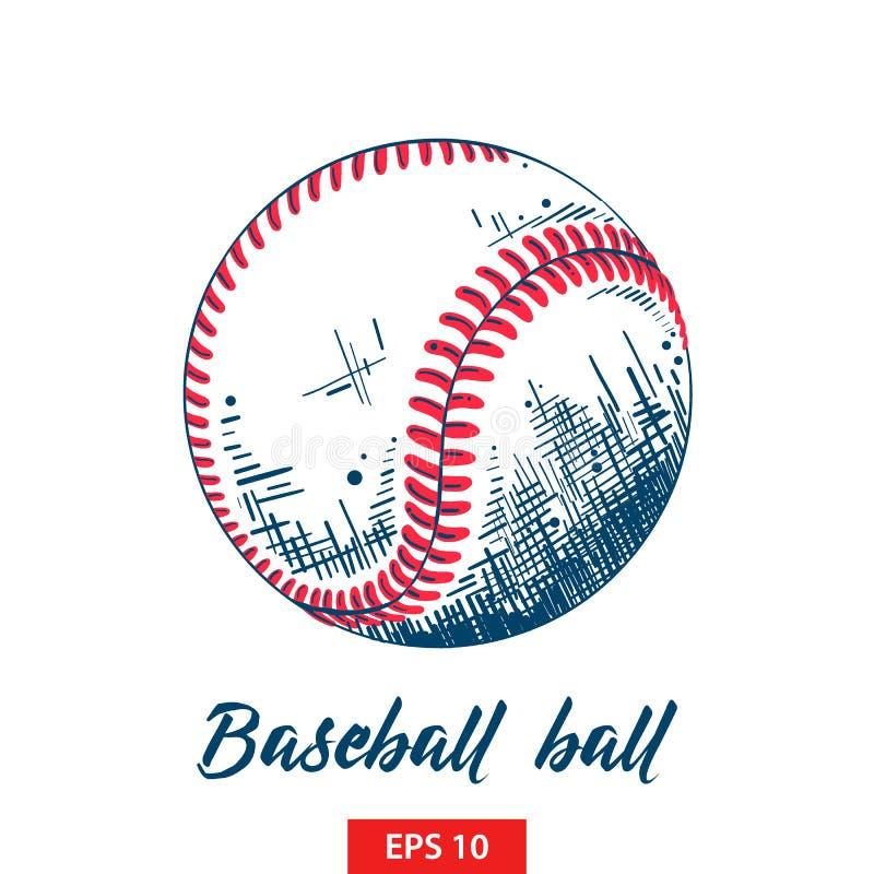 Эскиз руки вычерченный шарика бейсбола или софтбола в цвете изолированного на белой предпосылке иллюстрация штока