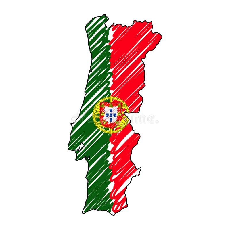 Эскиз руки карты Португалии вычерченный Флаг иллюстрации концепции вектора, чертеж детей, карта scribble Карта страны для иллюстрация вектора