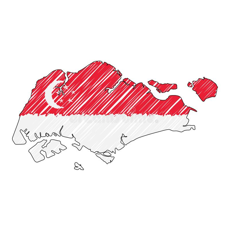 Эскиз руки карты Сингапура вычерченный Флаг иллюстрации концепции вектора, чертеж детей, карта scribble Карта страны для бесплатная иллюстрация