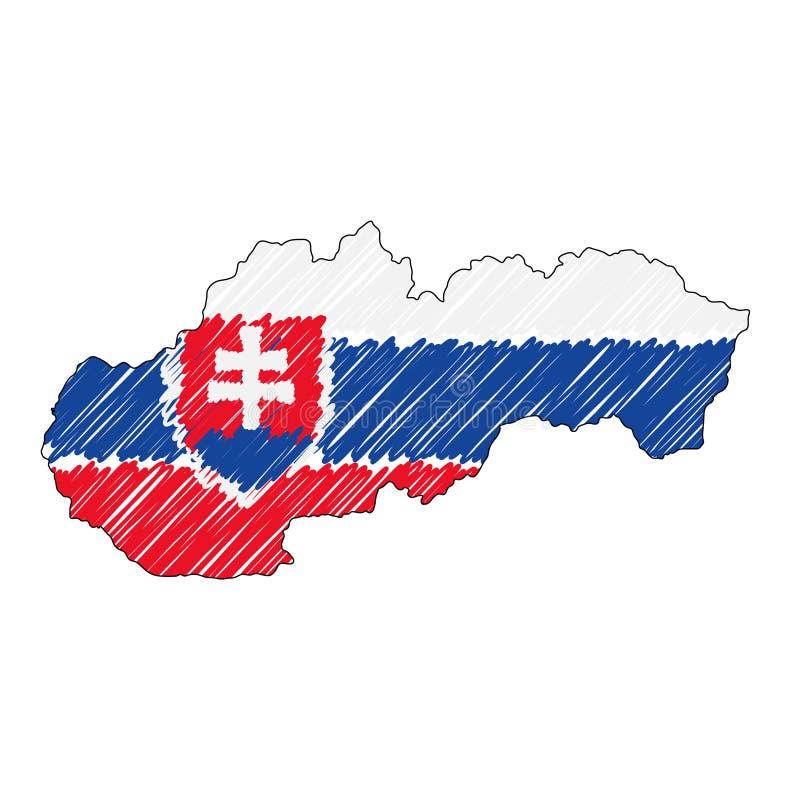 Эскиз руки карты Словакии вычерченный Флаг иллюстрации концепции вектора, чертеж детей, карта scribble Карта страны для бесплатная иллюстрация
