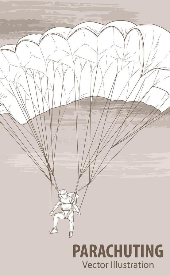 Эскиз руки парашютируя спортсмена Иллюстрация спорта вектора Графический силуэт человека с парашютом дальше иллюстрация вектора