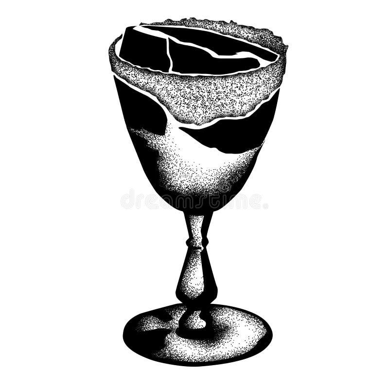 Эскиз руки Crusta рябиновки вычерченный исторического коктейля Нового Орлеана бесплатная иллюстрация
