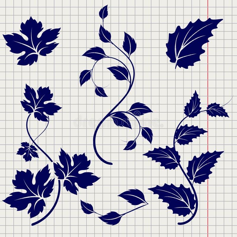 Эскиз ручки шарика ветвей и листьев иллюстрация штока