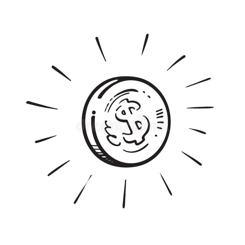 Эскиз светя монетки со знаком доллара обведенным взрывом световых лучей Иллюстрация вектора мультфильма руки вычерченная дальше иллюстрация штока