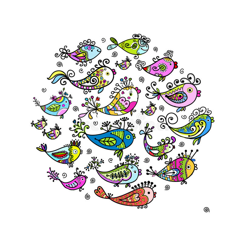 Эскиз смешных рыб для вашей конструкции иллюстрация вектора