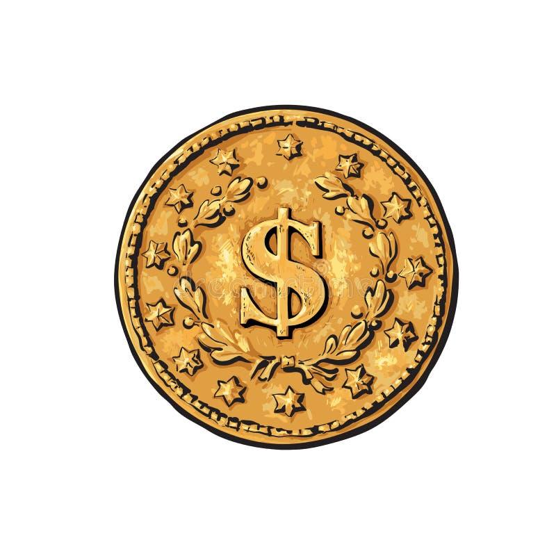 Эскиз старой золотой монеты со знаком доллара Иллюстрация вектора руки вычерченная в ретро стиле на белой предпосылке Наличные де иллюстрация вектора