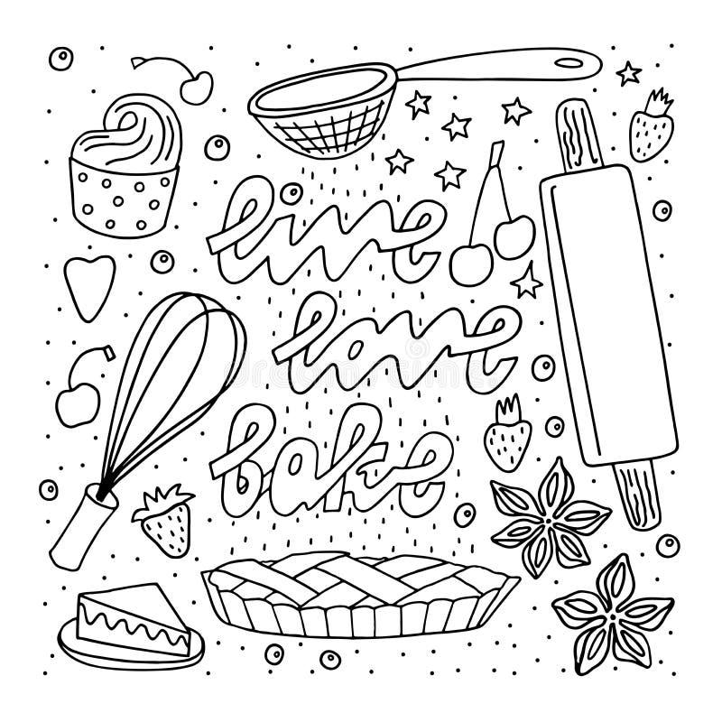 Эскиз стиля Doodle Freehand вычерченные символы и цитата пекарни бесплатная иллюстрация