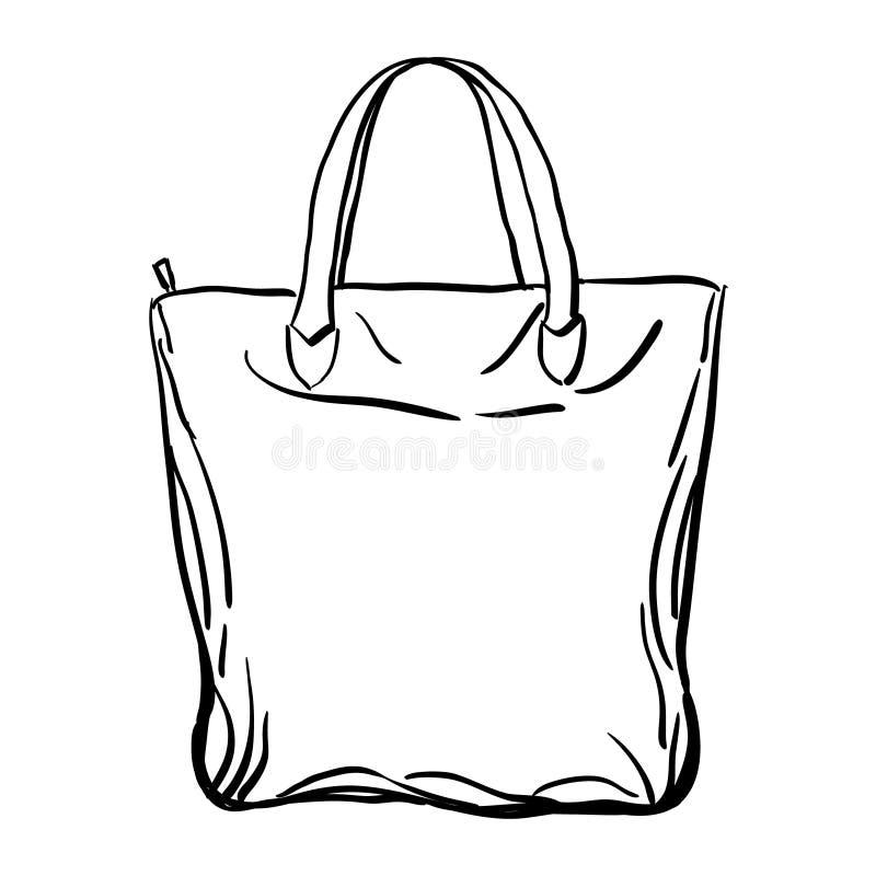 Эскиз сумки tote пляжа также вектор иллюстрации притяжки corel бесплатная иллюстрация