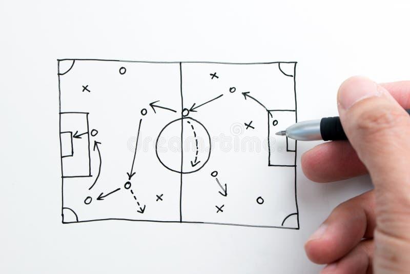 Эскиз тактики футбола на бумаге стоковые фотографии rf