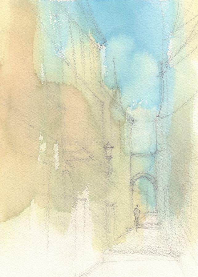 Эскиз улицы города bamboo акварель японского типа иллюстрации бесплатная иллюстрация