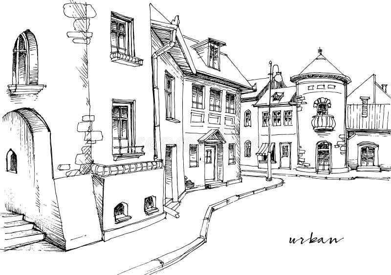 Эскиз улицы города иллюстрация вектора
