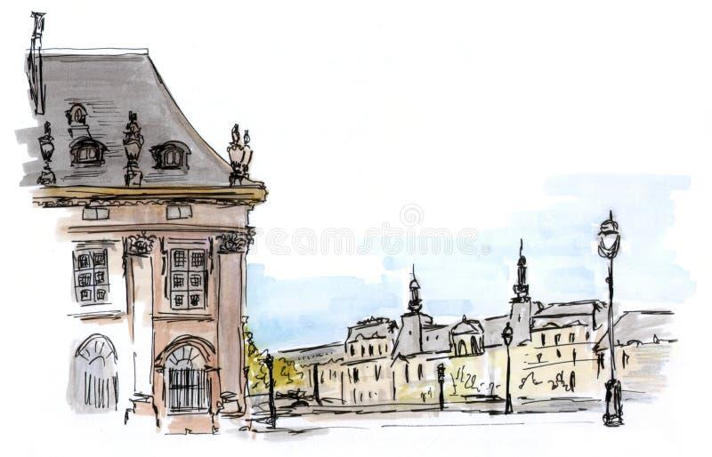 Эскиз улицы Парижа иллюстрация вектора