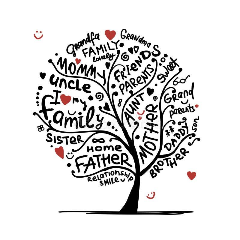Эскиз фамильного дерев дерева для вашего дизайна бесплатная иллюстрация