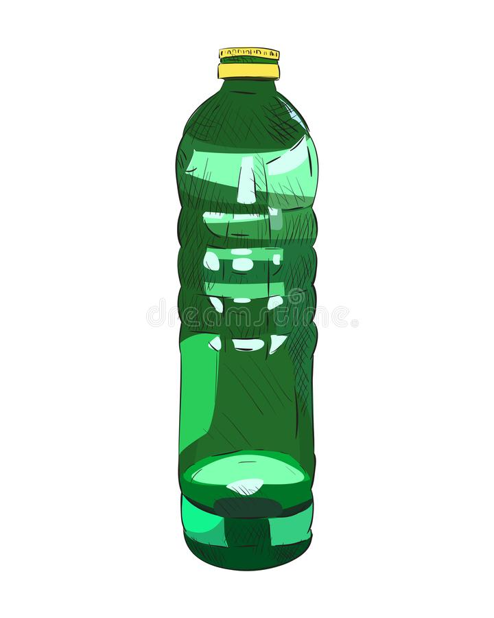 Эскиз цвета вектора пластичной бутылки иллюстрация штока