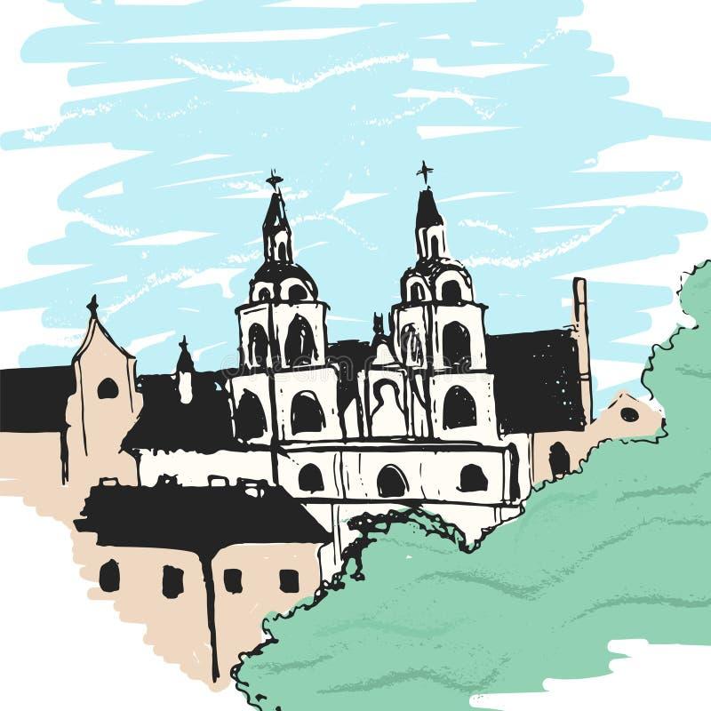 Эскиз церков Минска иллюстрация вектора