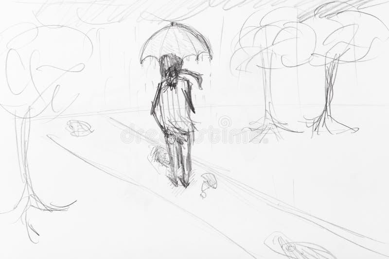 Эскиз человека под зонтиком идя в дождь иллюстрация вектора
