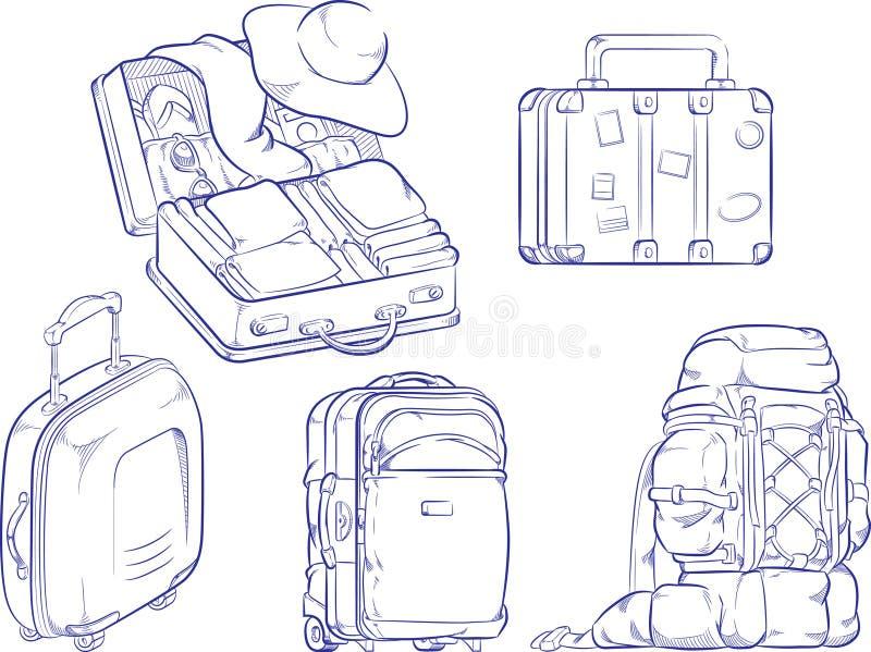 Эскиз чемодана и сумки перемещения иллюстрация штока