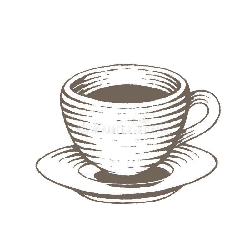 Эскиз чернил Брайна Vectorized иллюстрации кофейной чашки бесплатная иллюстрация