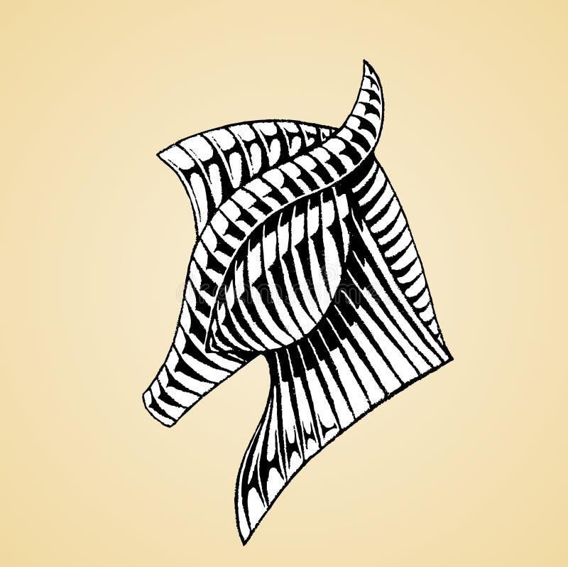 Эскиз чернил лошади с белым заполнением иллюстрация вектора