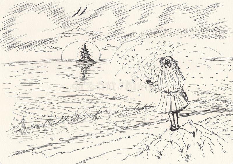 Эскиз школьницы смотря в далекий горизонт иллюстрация вектора