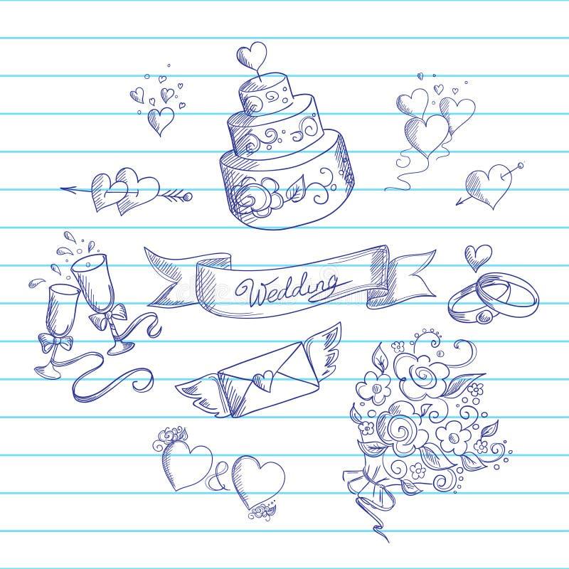 Эскиз элементов дизайна свадьбы иллюстрация штока