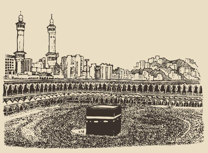 Эскиз людей Саудовской Аравии святой мекки Kaaba мусульманский бесплатная иллюстрация