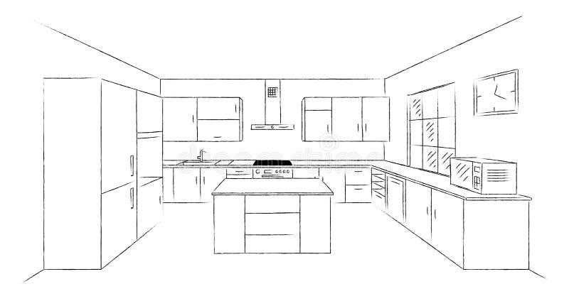 Эскиз 3d кухни иллюстрация штока