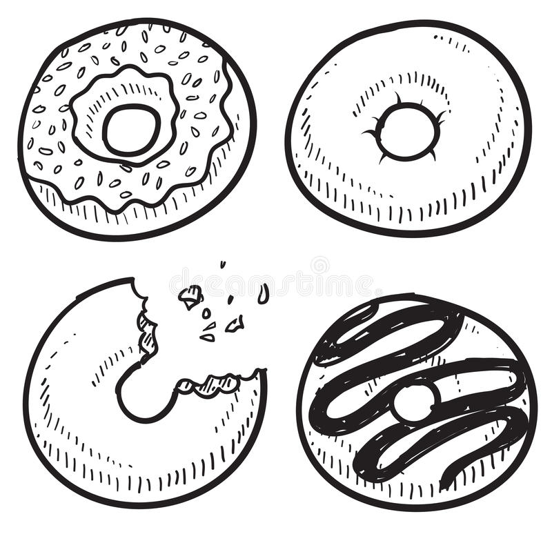 Эскиз Donuts иллюстрация штока