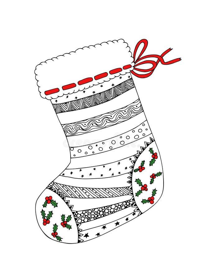Эскиз Doodle дизайна zentangle носка рождества стоковое фото rf